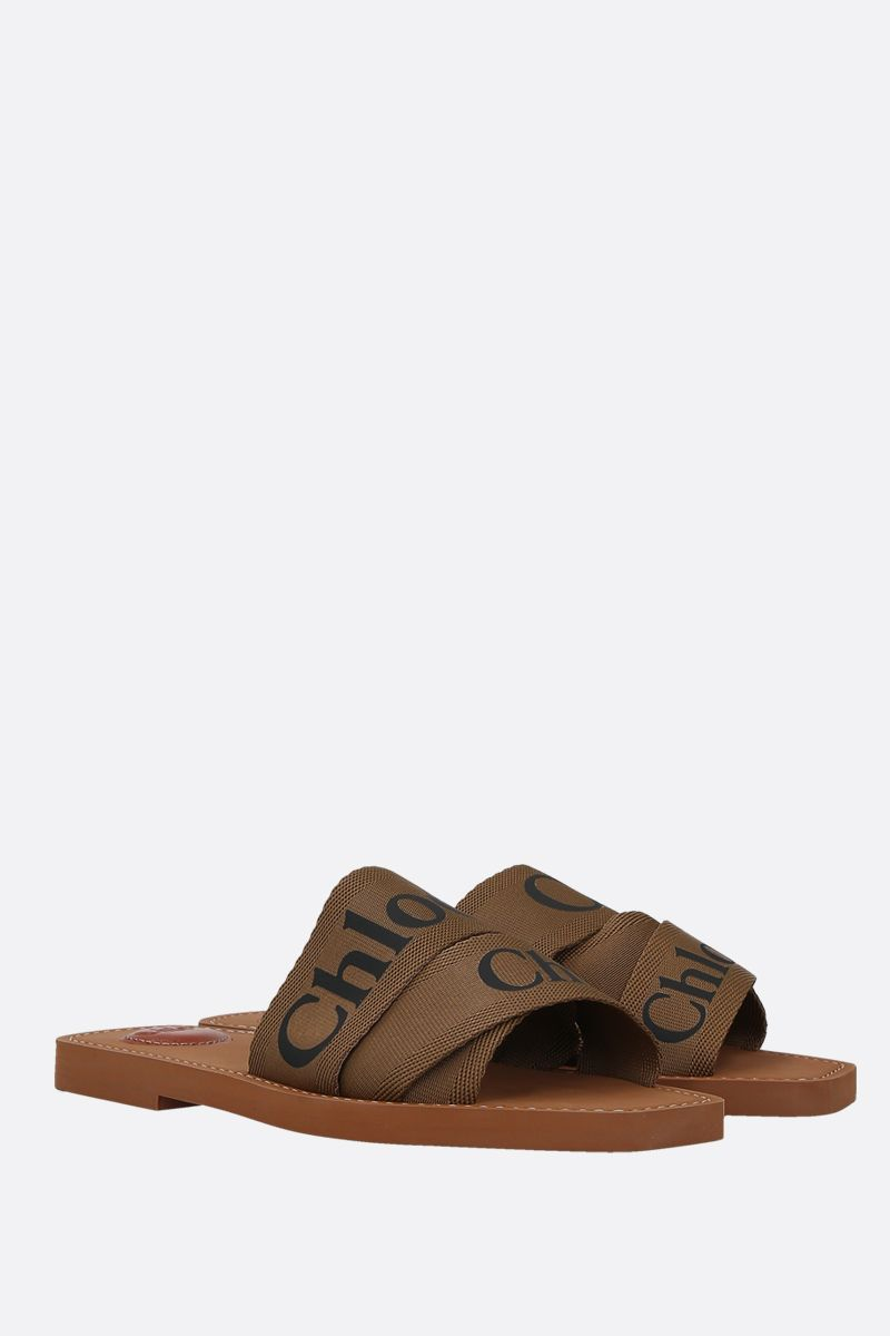 CHLOÈ: Chloè canvas flat sandals Color Brown_2