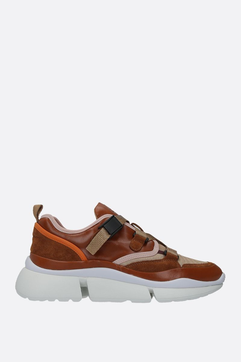 CHLOÈ: Sonnie sneaker in smooth leather, suede and mesh Color Brown_1