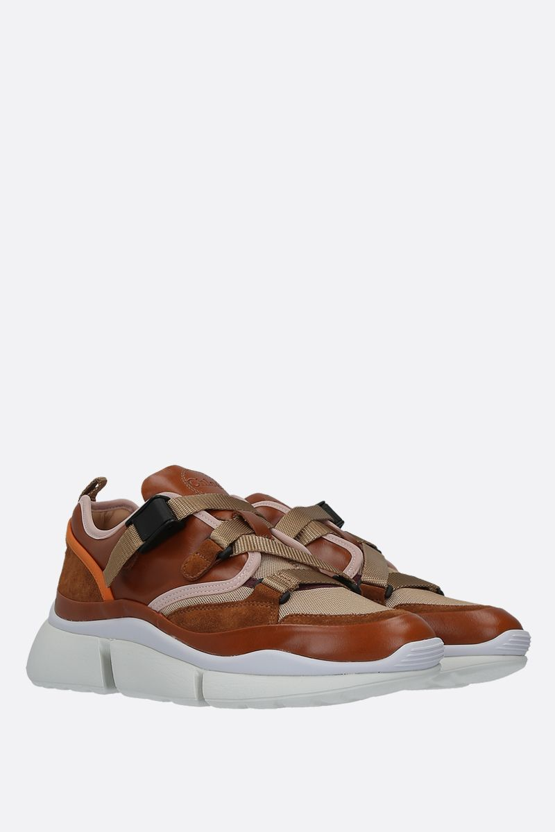 CHLOÈ: Sonnie sneaker in smooth leather, suede and mesh Color Brown_2
