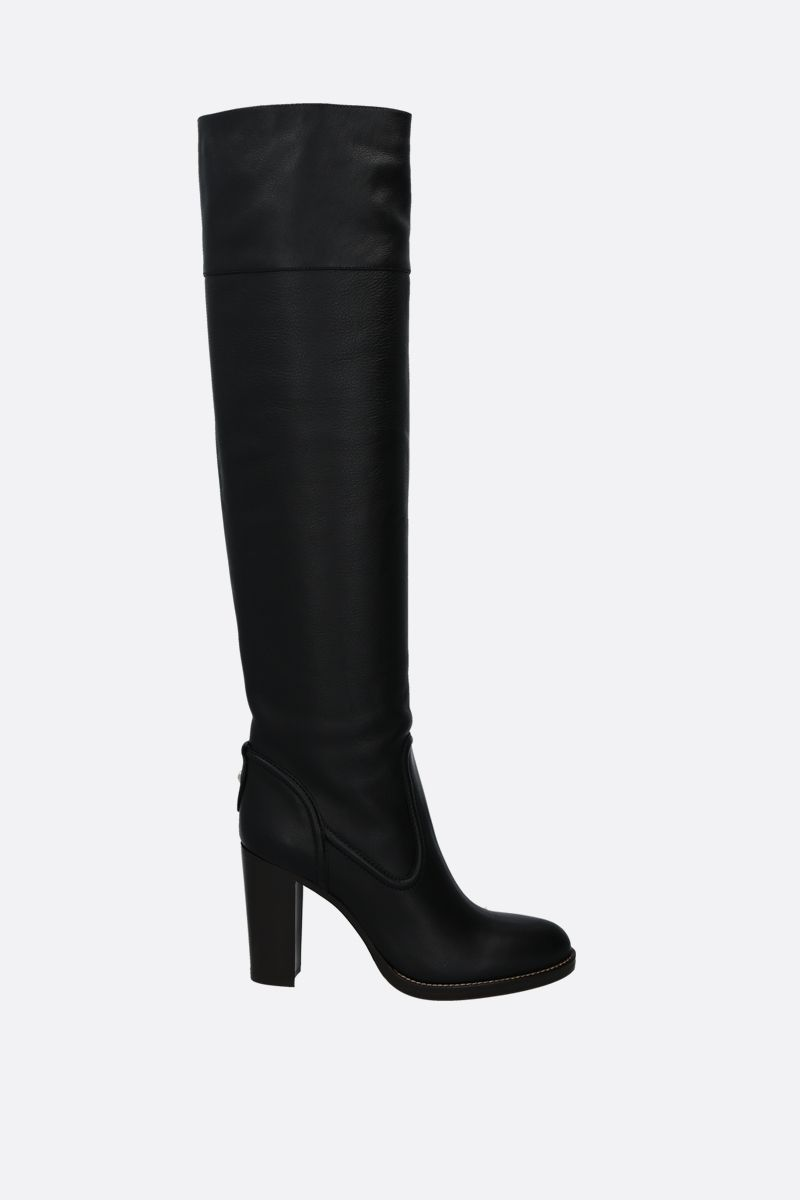 CHLOÈ: Emma smooth and grainy leather over-the-knee boots Color Black_1