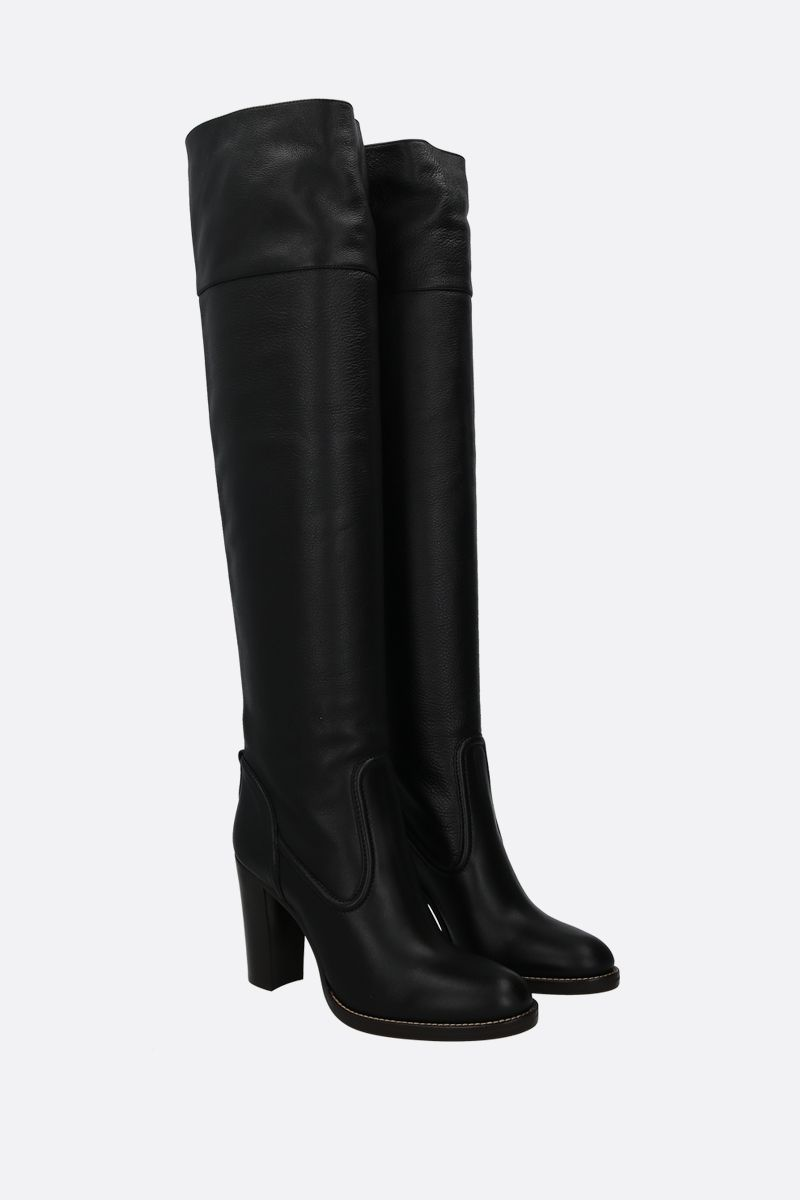 CHLOÈ: Emma smooth and grainy leather over-the-knee boots Color Black_2