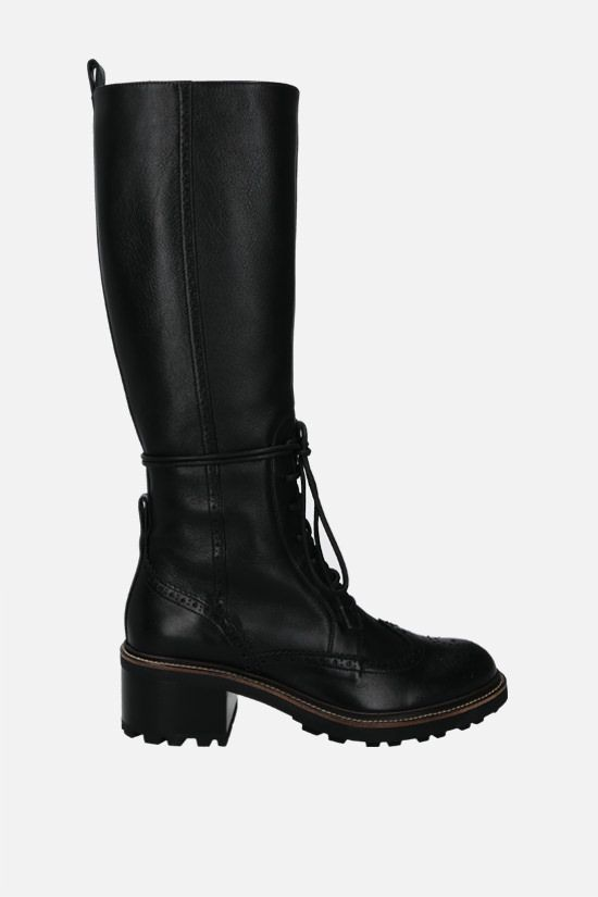 CHLOÈ: Franne glossy leather laced boots Color Black_1