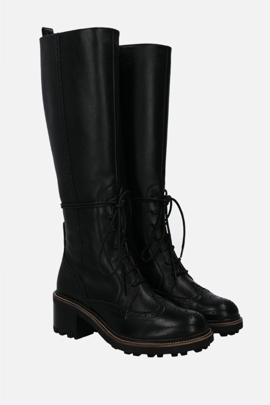 CHLOÈ: Franne glossy leather laced boots Color Black_2