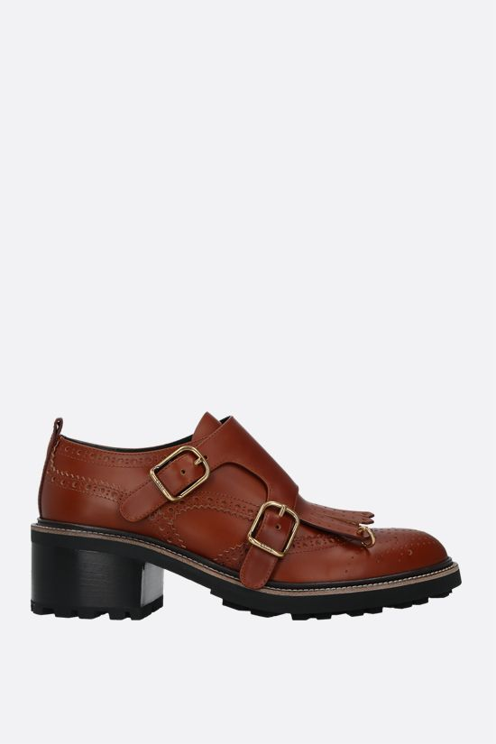 CHLOÈ: Franne brushed calf monk strap shoes Color Brown_1