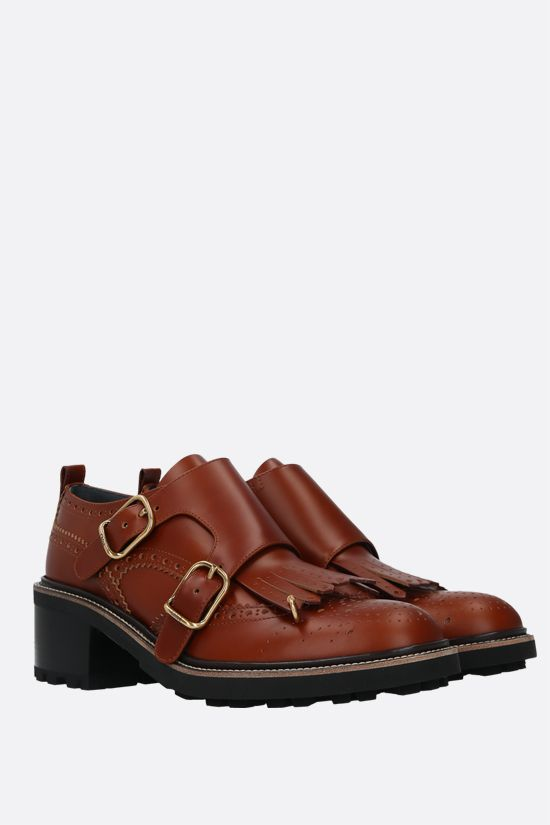 CHLOÈ: Franne brushed calf monk strap shoes Color Brown_2