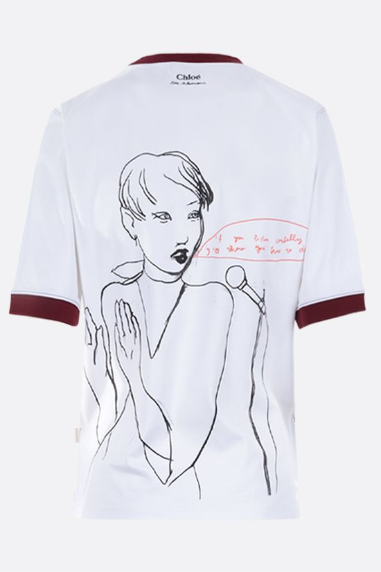 CHLOÈ: Rita Ackermann print cotton t-shirt Color White_2