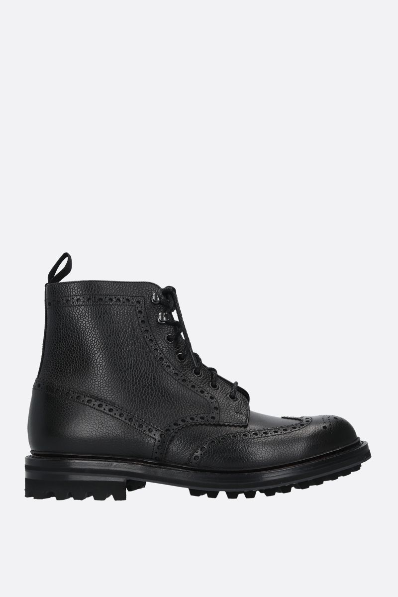 CHURCH'S: Mac Farlane grainy leather lace-up booties Color Black_1