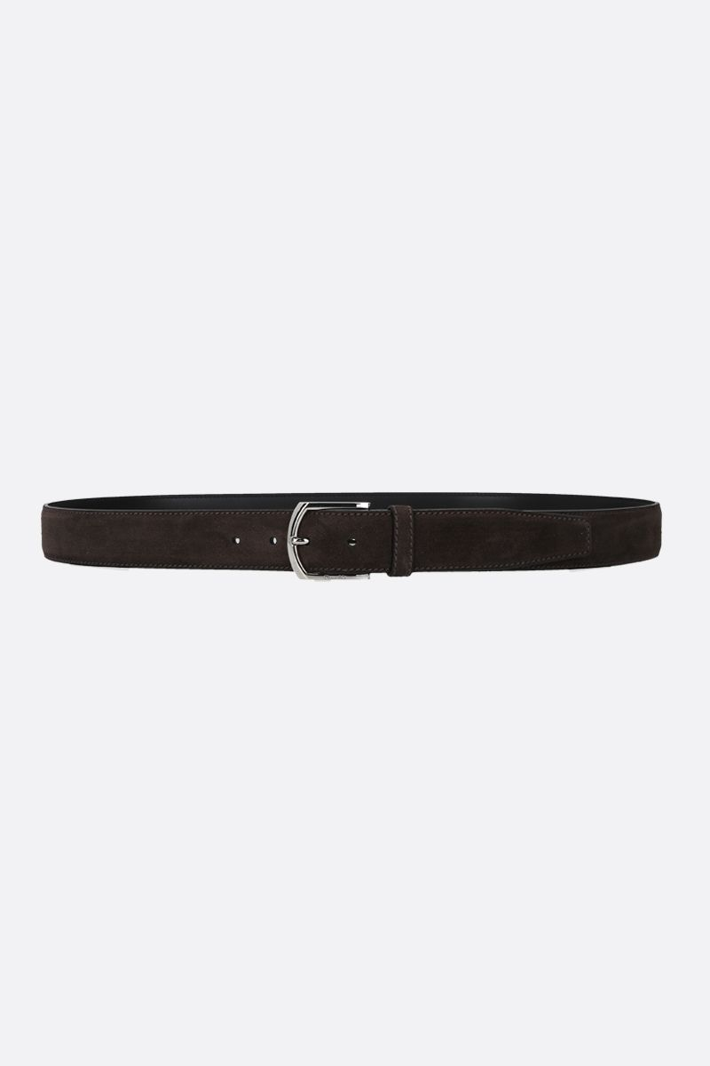 CHURCH'S: velvet suede classic belt Color Brown_1