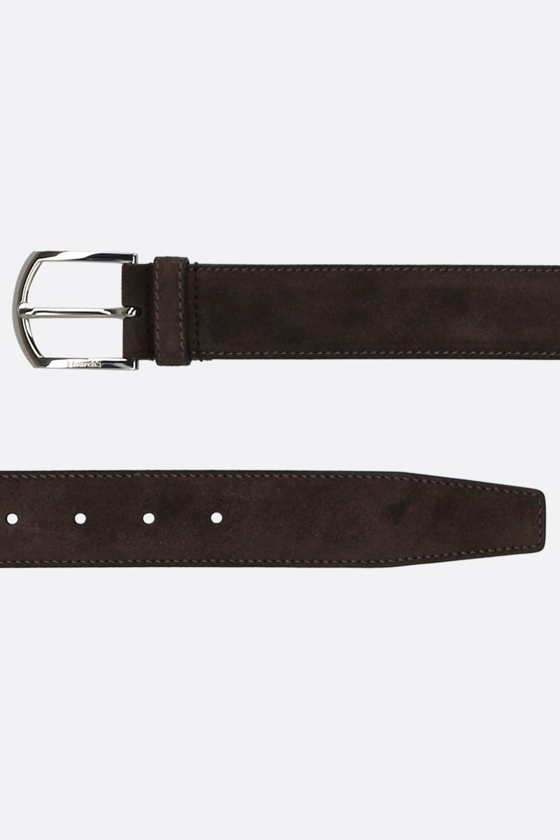 CHURCH'S: velvet suede classic belt Color Brown_2