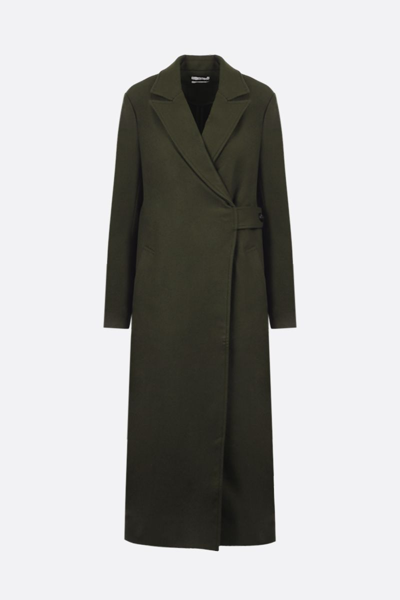 CO: wool cashmere blend wrap coat Color Green_1