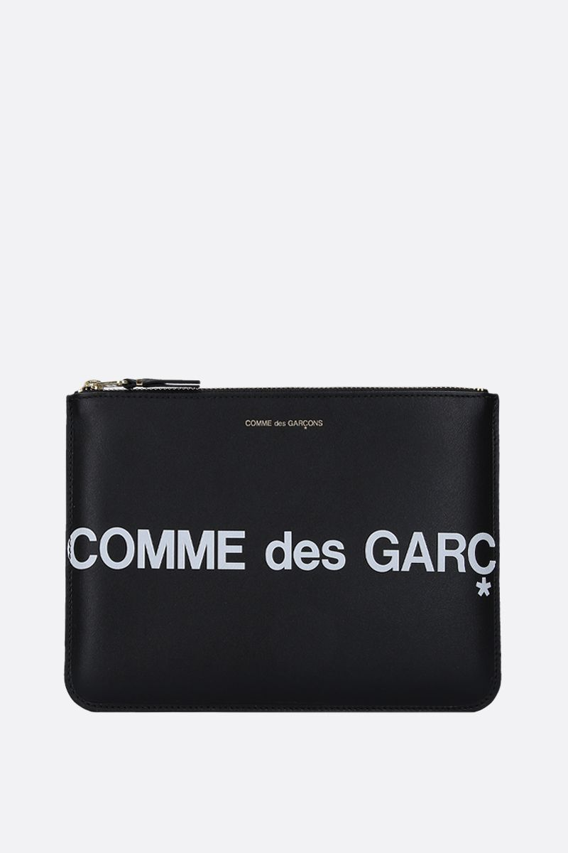 COMME des GARCONS WALLET: busta large in pelle liscia stampa logo Colore Nero_1