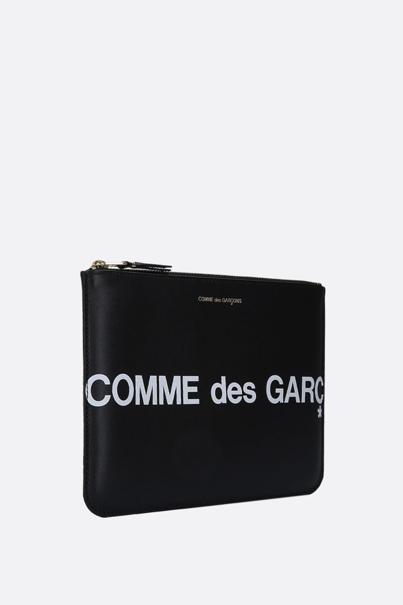 COMME des GARCONS WALLET: busta large in pelle liscia stampa logo Colore Nero_2