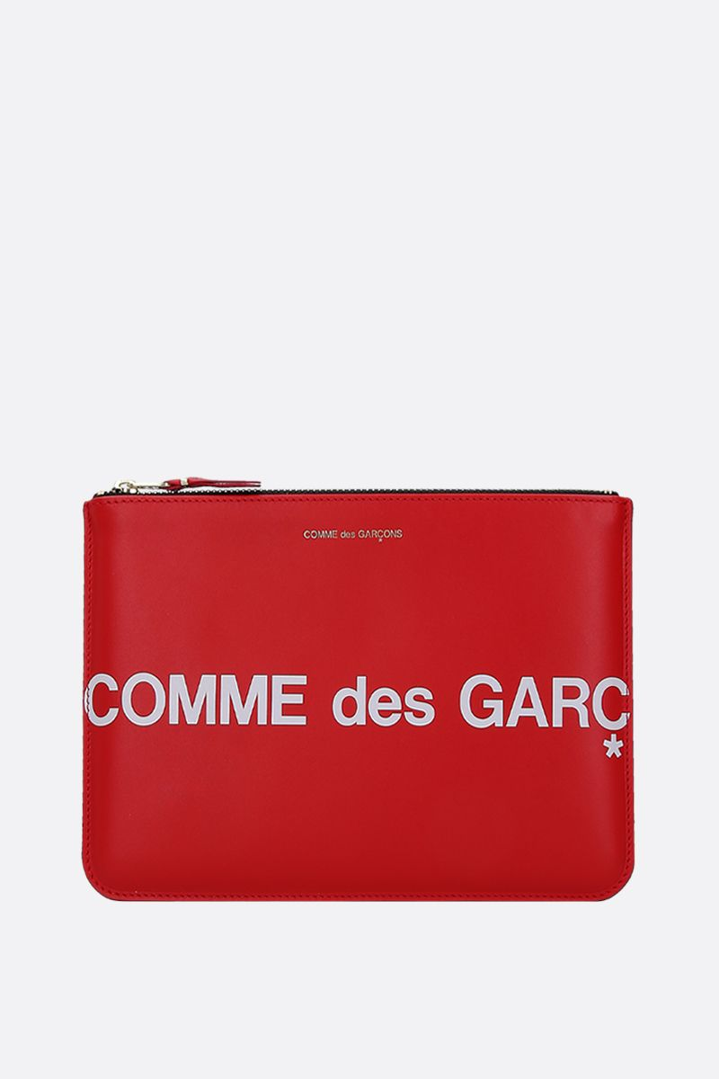 COMME des GARCONS WALLET: logo print smooth leather large pouch Color Red_1
