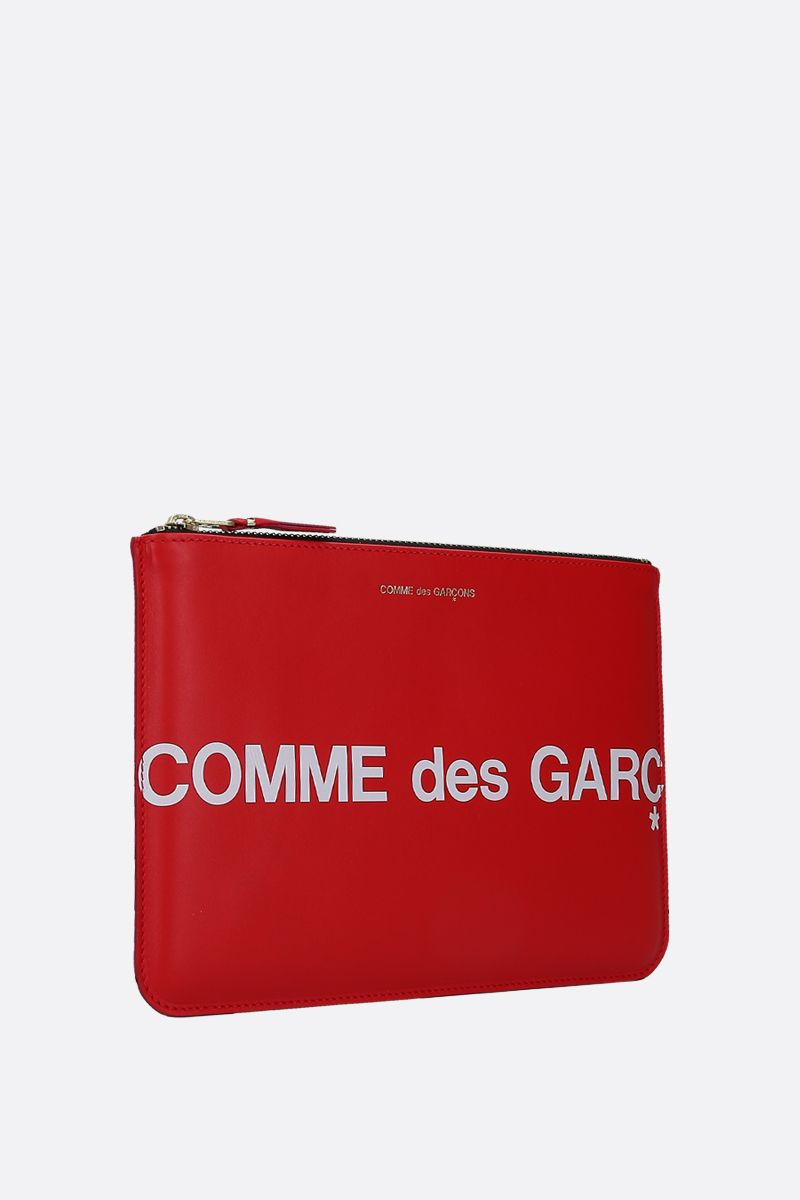 COMME des GARCONS WALLET: logo print smooth leather large pouch Color Red_2