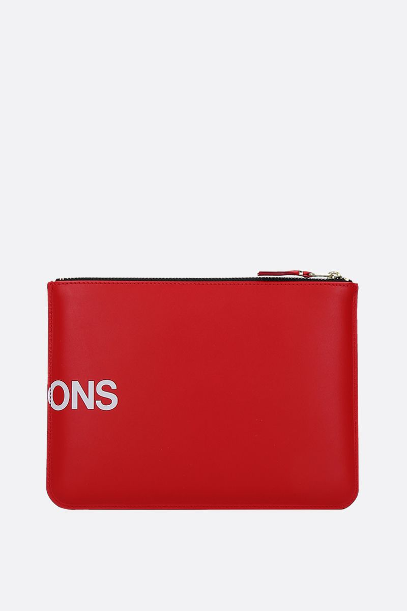 COMME des GARCONS WALLET: logo print smooth leather large pouch Color Red_3