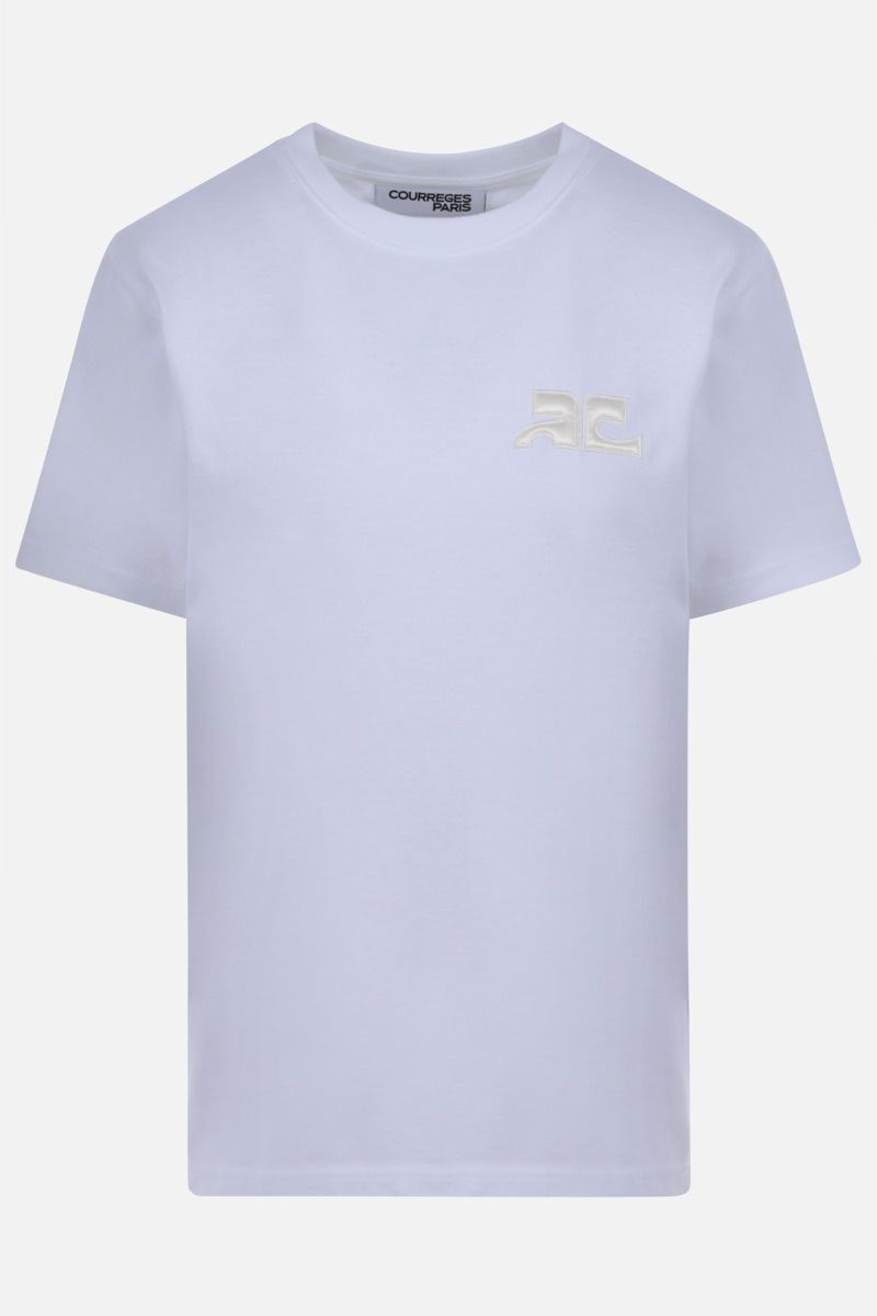 COURREGES: logo embroidered cotton t-shirt Color White_1