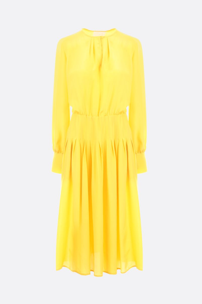 CRIDA: Firenze crepe de chine midi dress Color Yellow_1