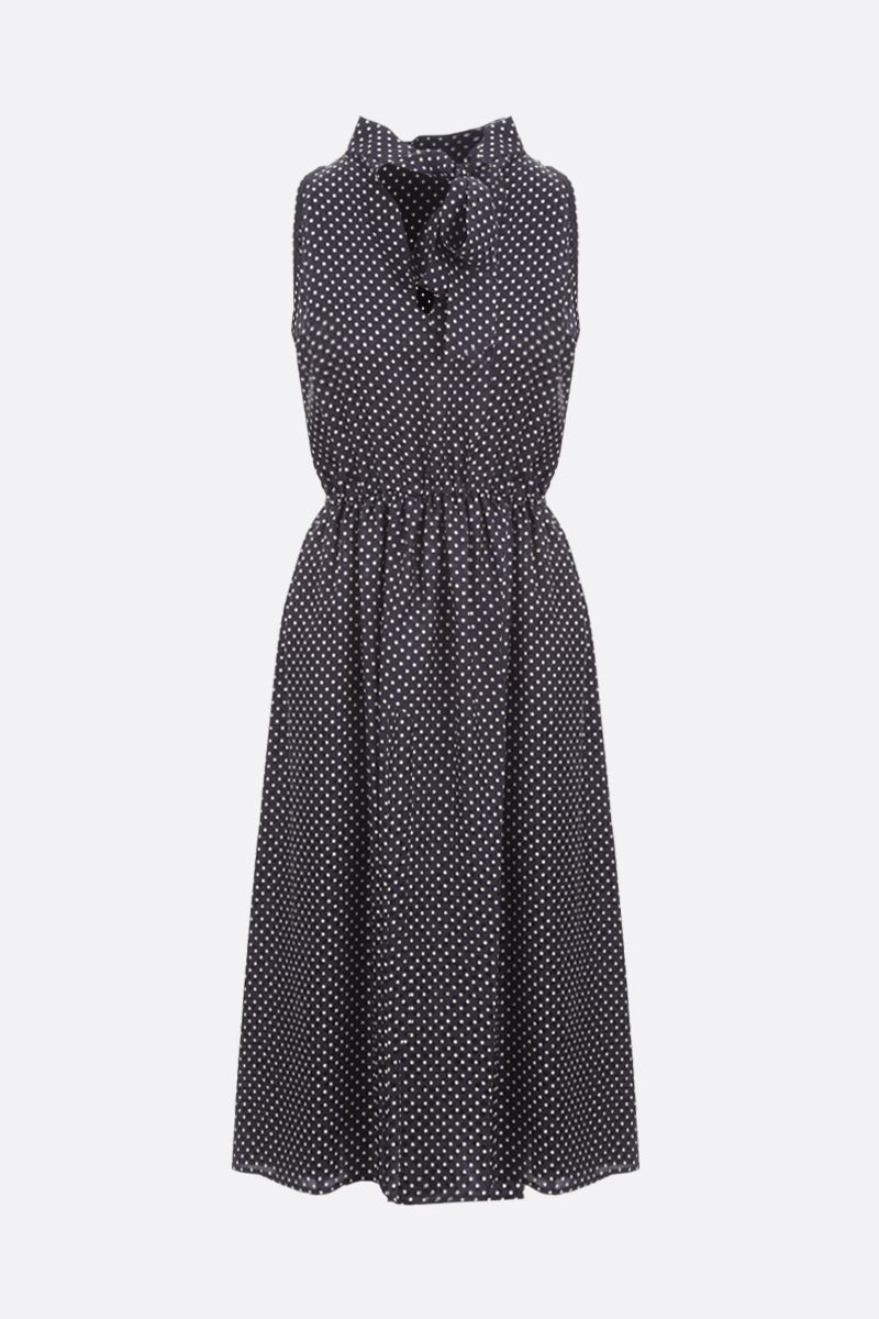 CRIDA: Taormina polka-dot silk sleeveless dress Color Black_1