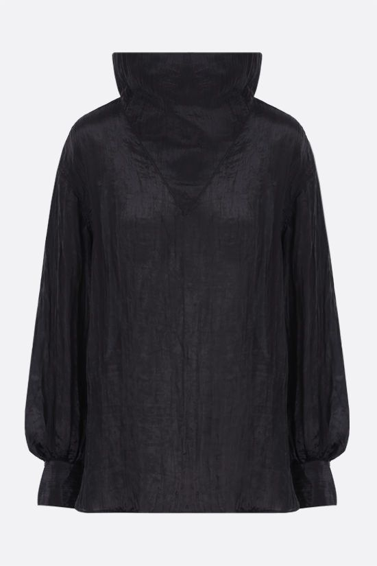 DEVEAUX: Patricia crinkled-effect twill blouse Color Black_1