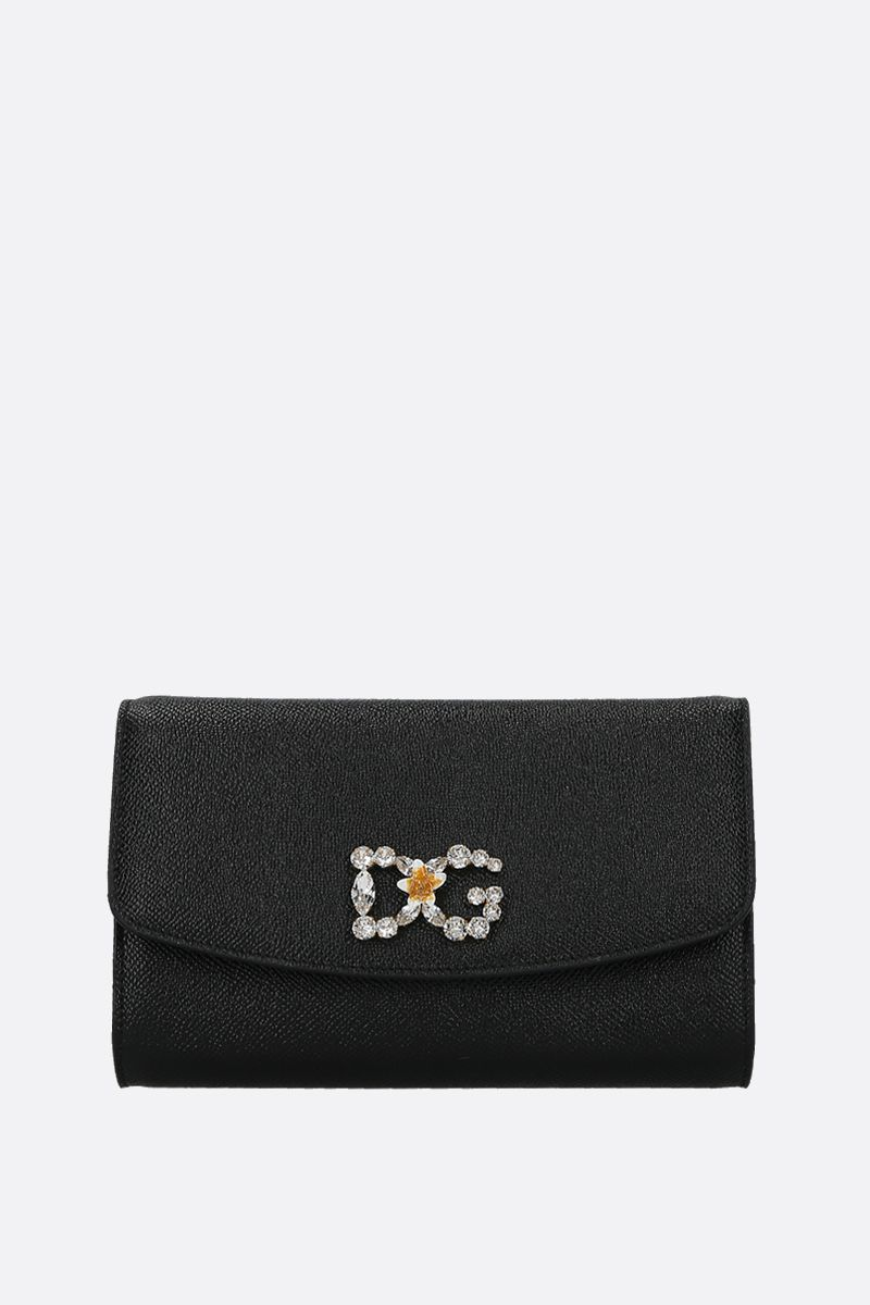 DOLCE & GABBANA: Dauphine leather chain wallet Color Black_1