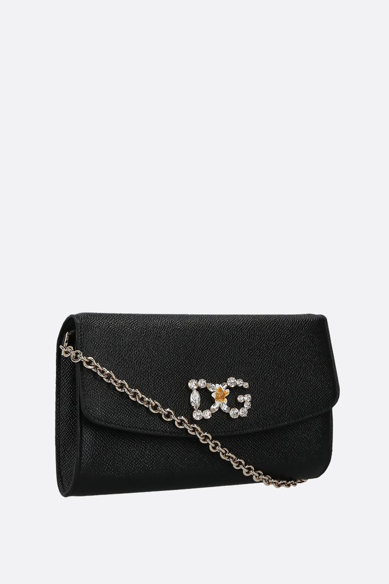 DOLCE & GABBANA: Dauphine leather chain wallet Color Black_2