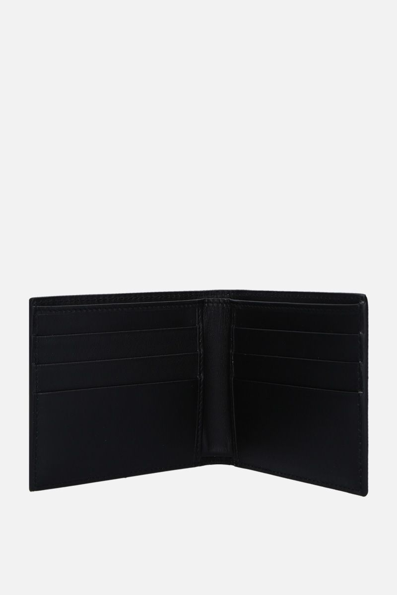DOLCE & GABBANA: logo print smooth leather billfold wallet Color Black_2