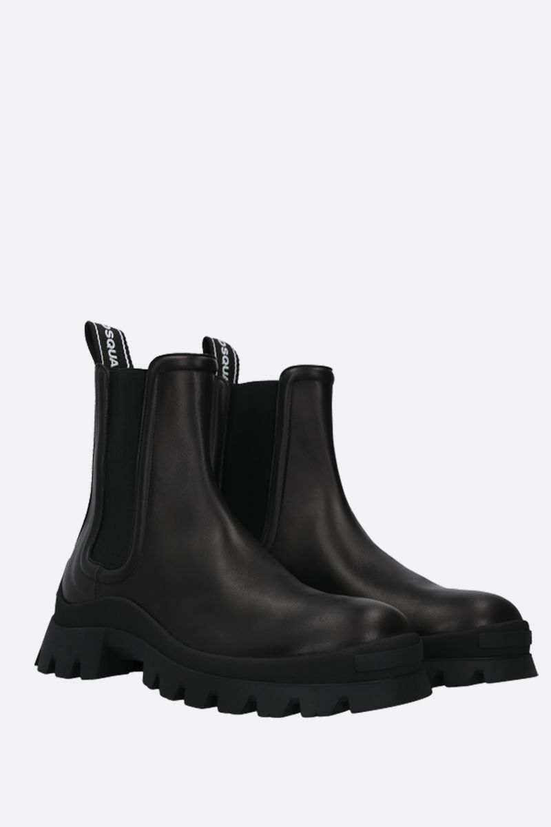 DSQUARED2: Tank Tape smooth leather combat boots Color Black_2