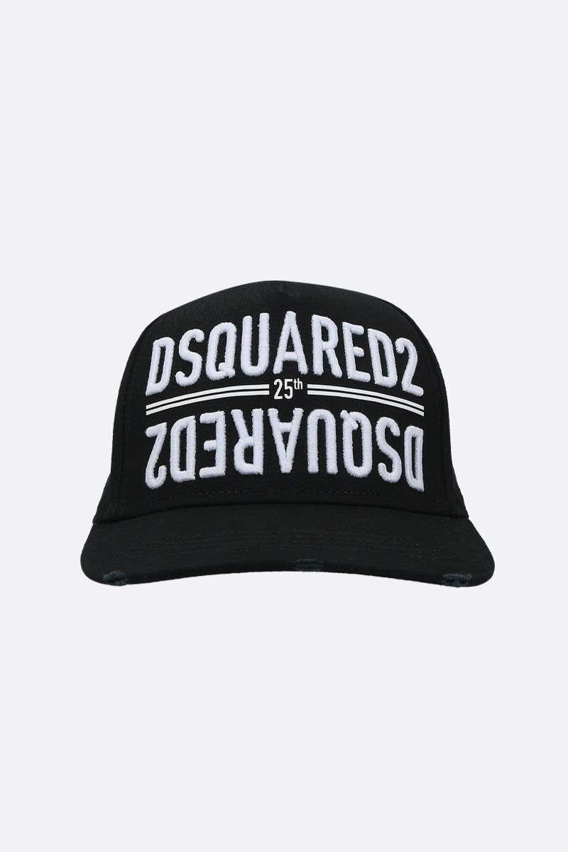 DSQUARED2: mirrored logo embroidered canvas baseball cap Color Black_1
