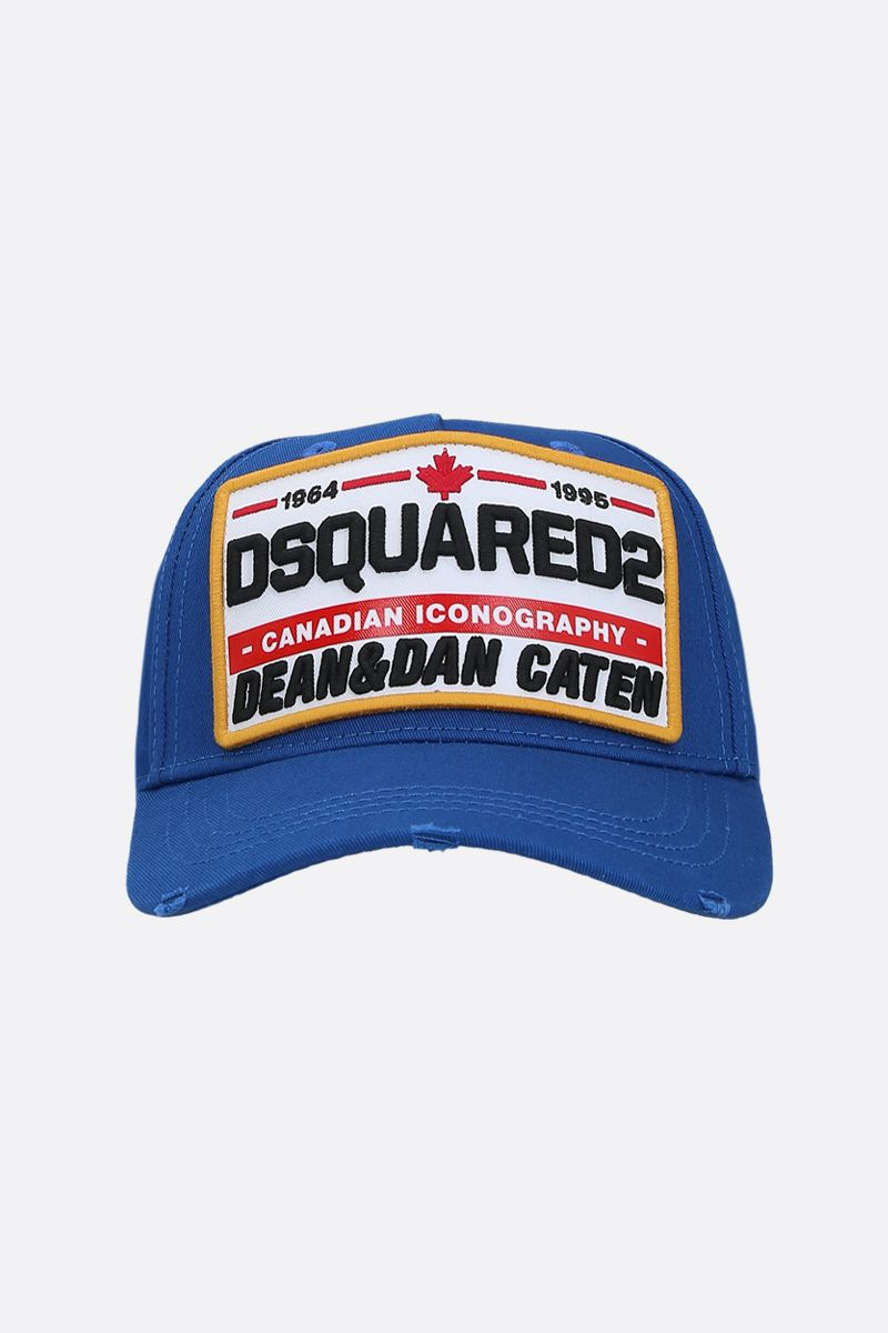 DSQUARED2: cappellino baseball in canvas patch Dsquared2 Colore Blu_1