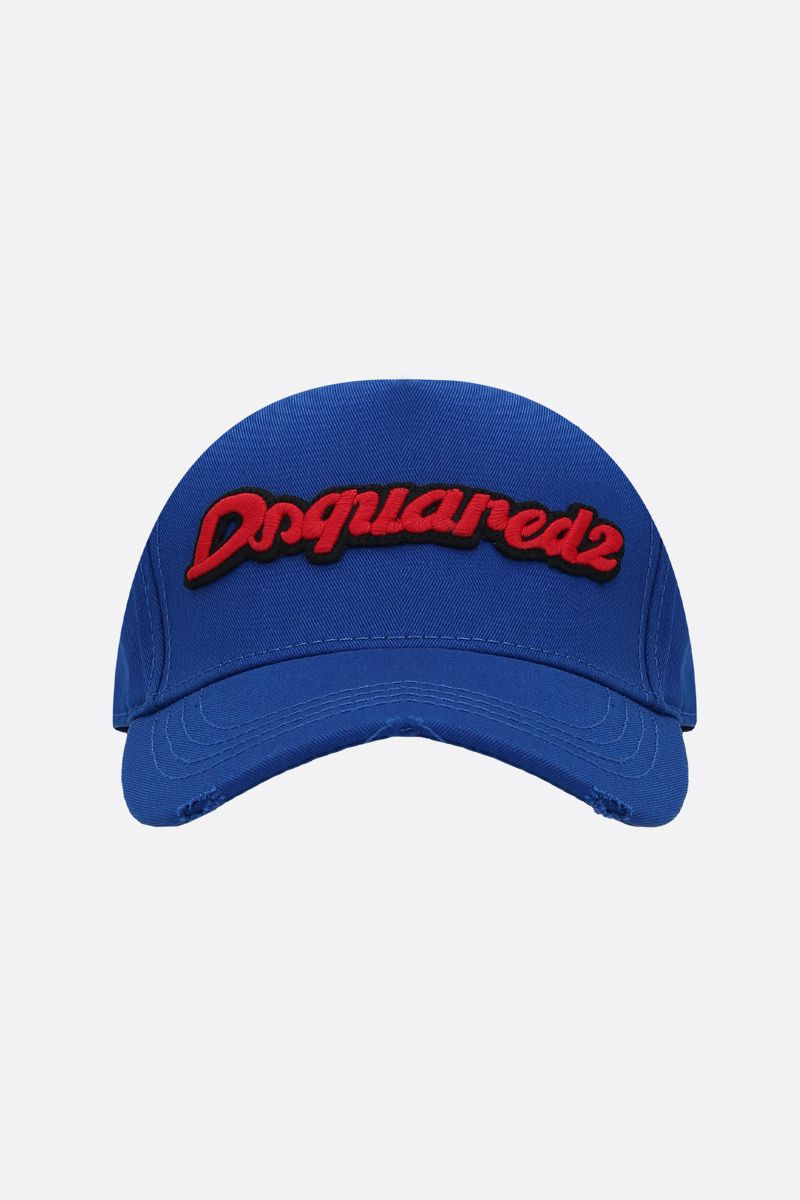 DSQUARED2: cappello baseball in gabardine con patch cargo Colore Blu_1