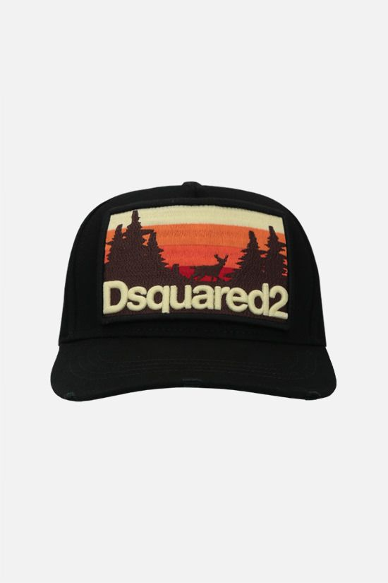 DSQUARED2: cappello baseball in canvas patch logo grafico Colore Nero_1