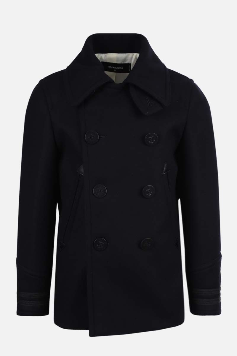DSQUARED2: double-breasted wool blend coat Color Blue_1