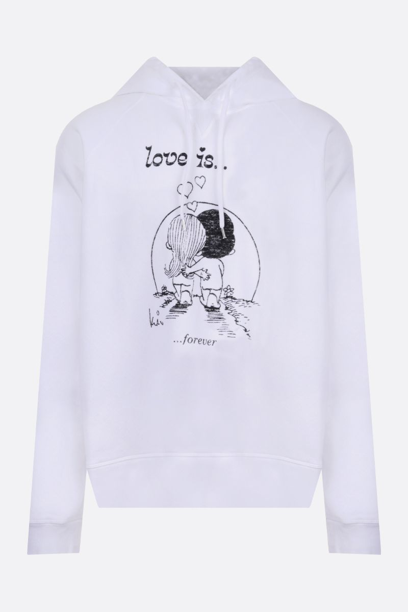 DSQUARED2: Love Is print cotton hoodie Color White_1