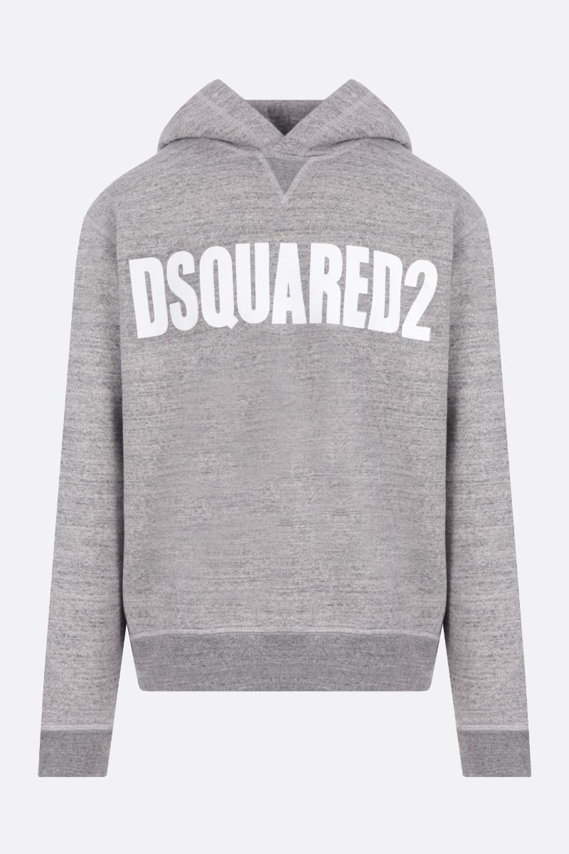 DSQUARED2: Dsquared2 print cotton hoodie Color Grey_1
