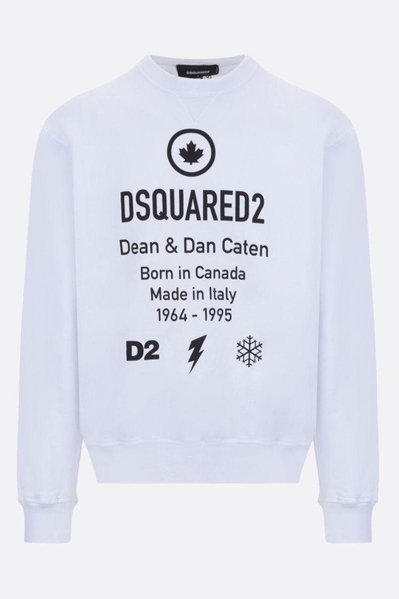 DSQUARED2: Dsquared2 Dean & Dan Caten print cotton sweatshirt Color White_1