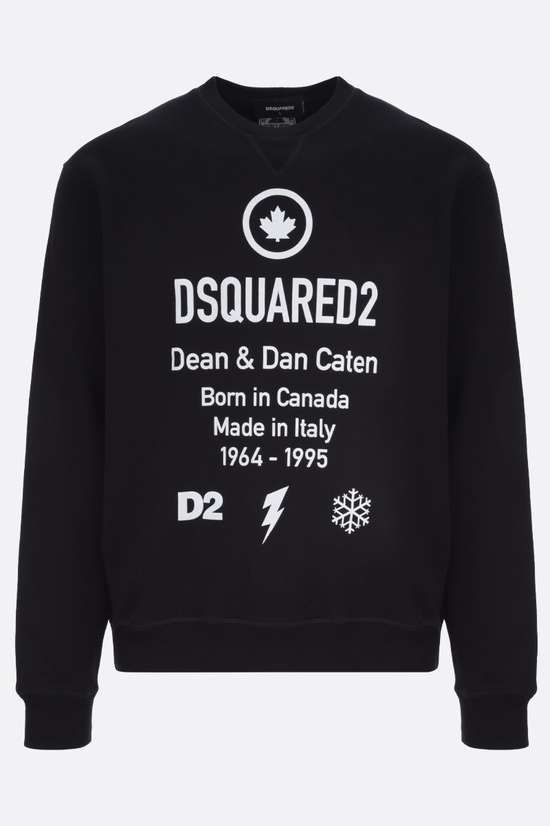 DSQUARED2: Dsquared2 Dean & Dan Caten print cotton sweatshirt Color Black_1
