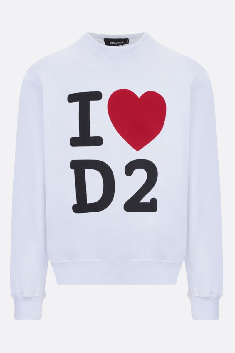 DSQUARED2: I Heart D2 cotton sweatshirt Color White_1