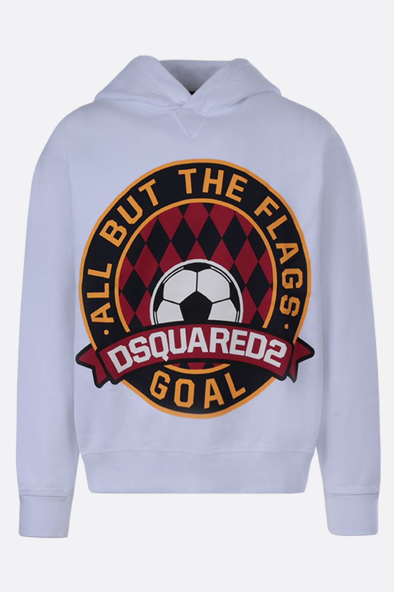 DSQUARED2: Dsquared2 Goal print cotton hoodie Color White_1