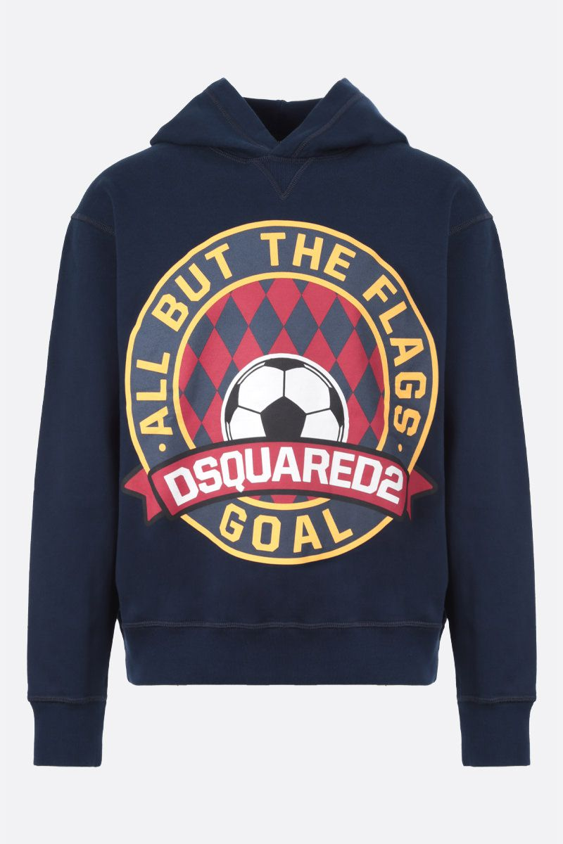 DSQUARED2: Dsquared2 Goal print cotton hoodie Color Blue_1