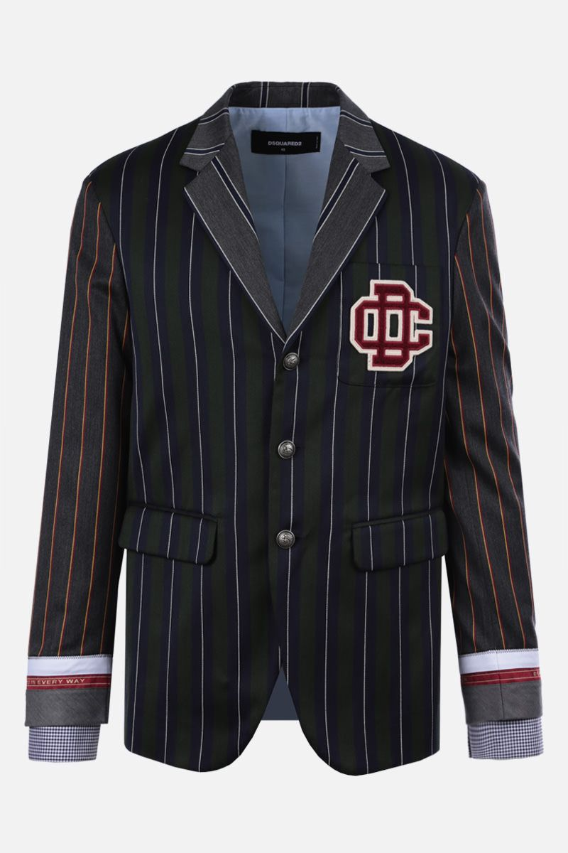 DSQUARED2: DC Crest patch wool cotton blend single-breasted jacket Color Blue_1