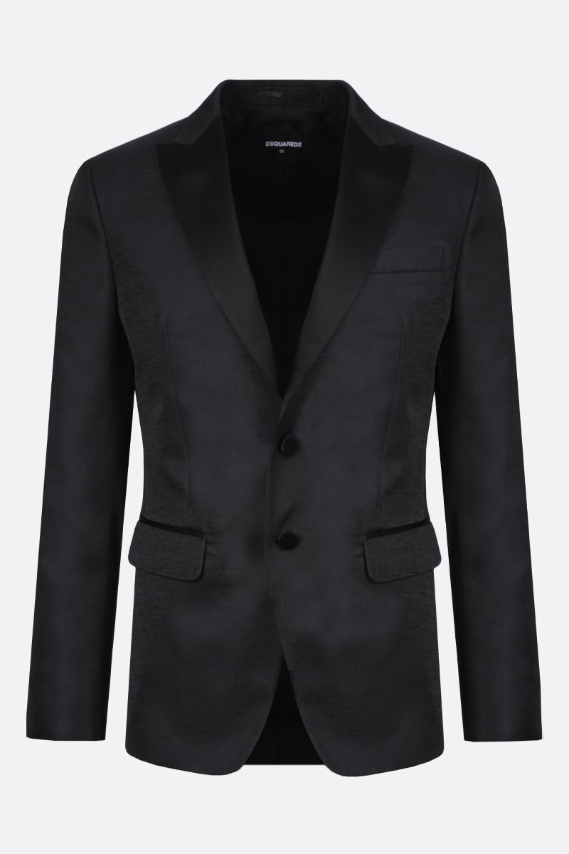DSQUARED2: textured satin single-breasted jacket Color Black_1
