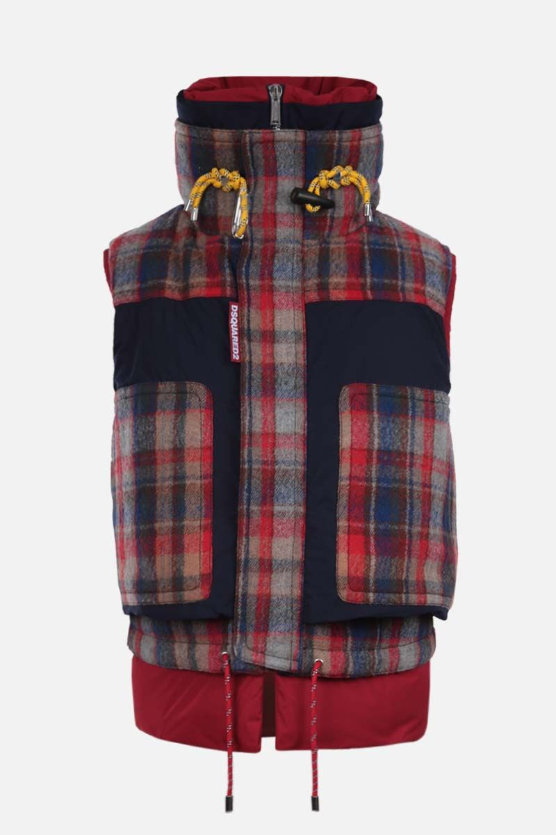 DSQUARED2: check wool and nylon sleeveless down jacket Color Multicolor_1