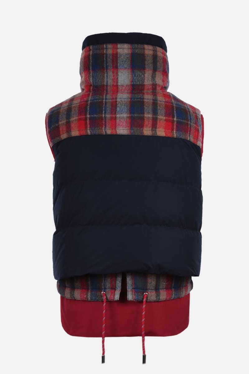DSQUARED2: check wool and nylon sleeveless down jacket Color Multicolor_2