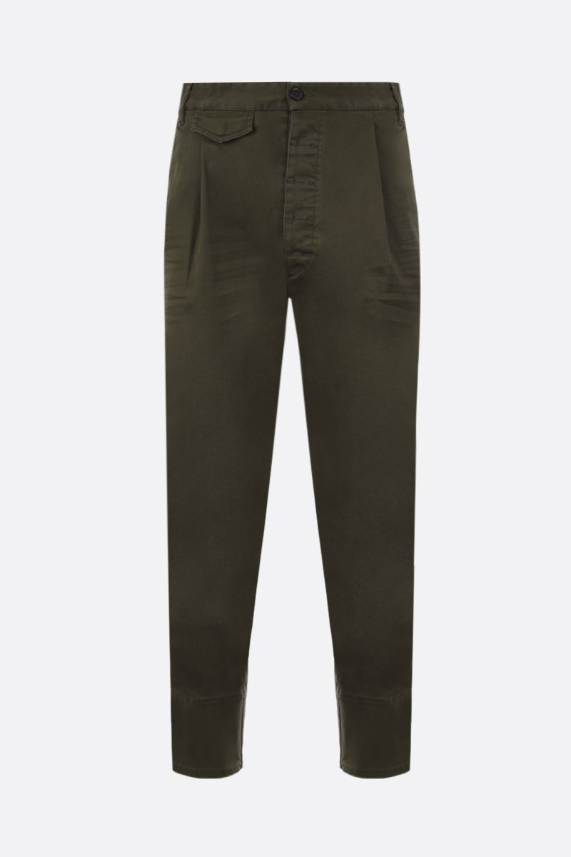 DSQUARED2: pantalone con pinces in cotone stretch Colore Verde_1