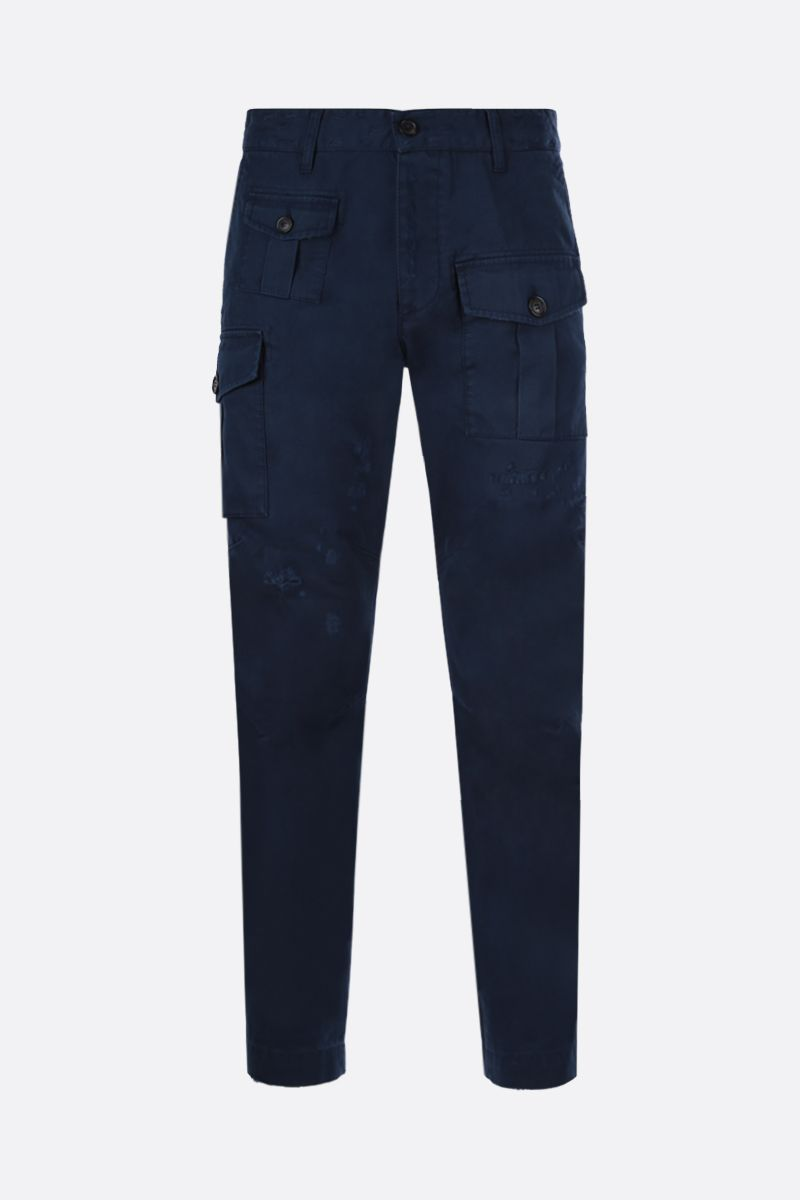 DSQUARED2: logo print cotton cargo pants Color Blue_1