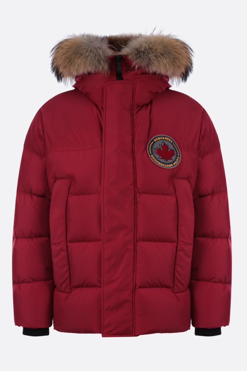 DSQUARED2: logo patch nylon down jacket Color Red_1