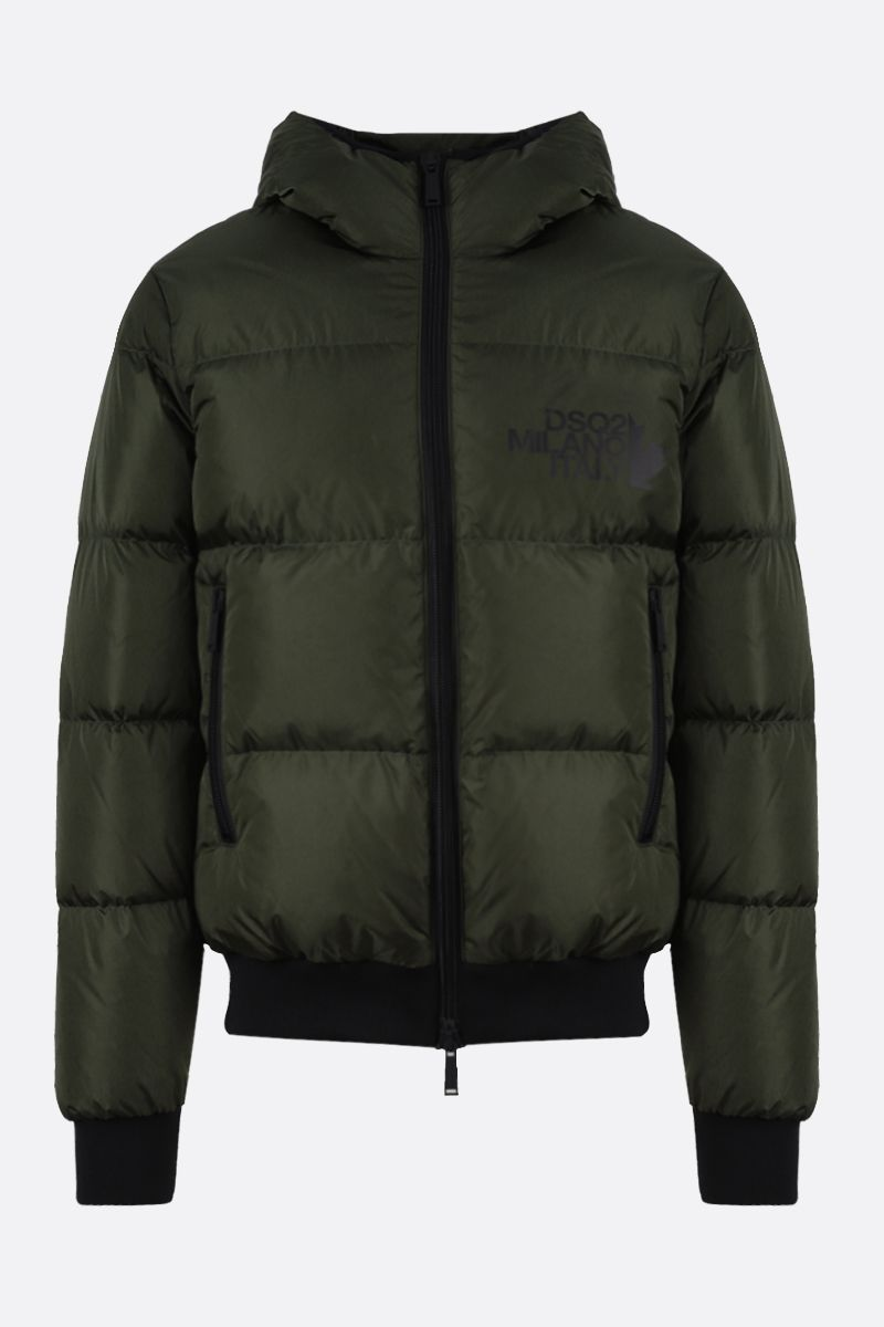 DSQUARED2: DSQ2 Milano Italy print nylon down jacket Color Green_1