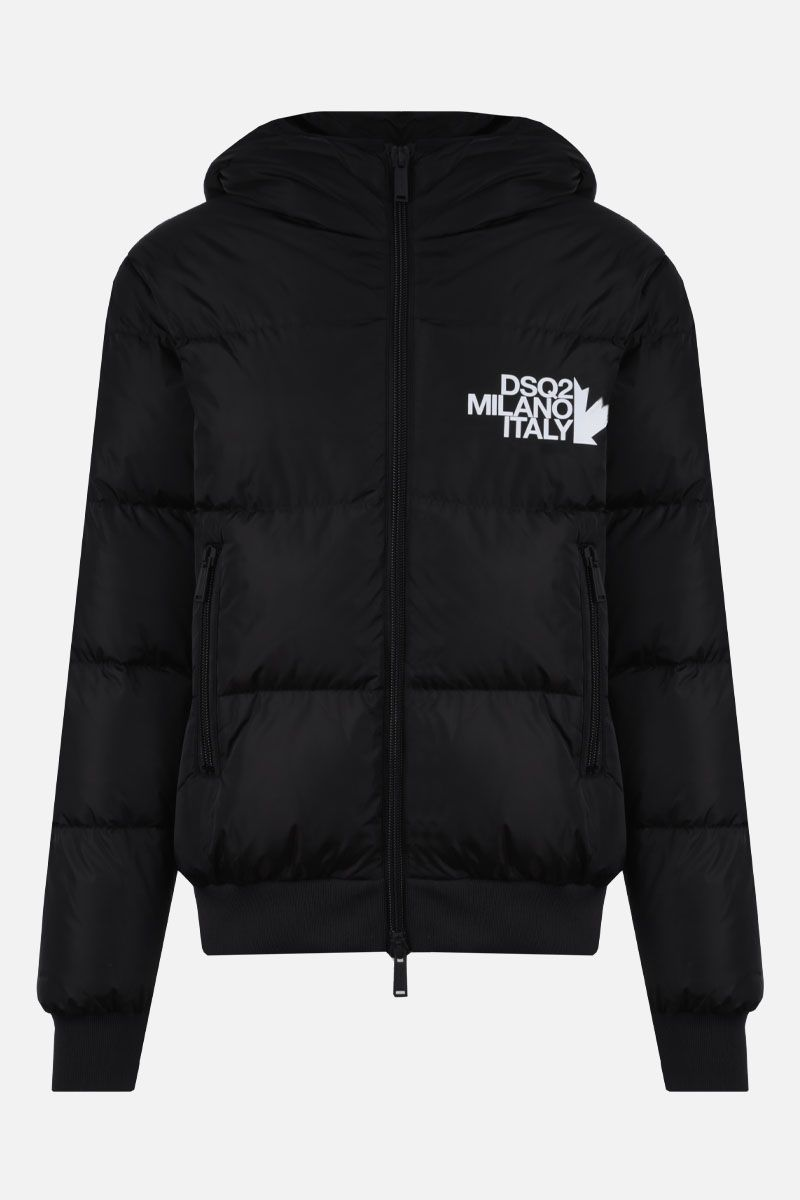 DSQUARED2: DSQ2 Milano Italy print nylon down jacket Color Black_1