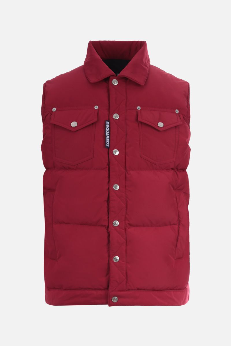 DSQUARED2: logo label-detailed nylon sleeveless down jacket Color Red_1