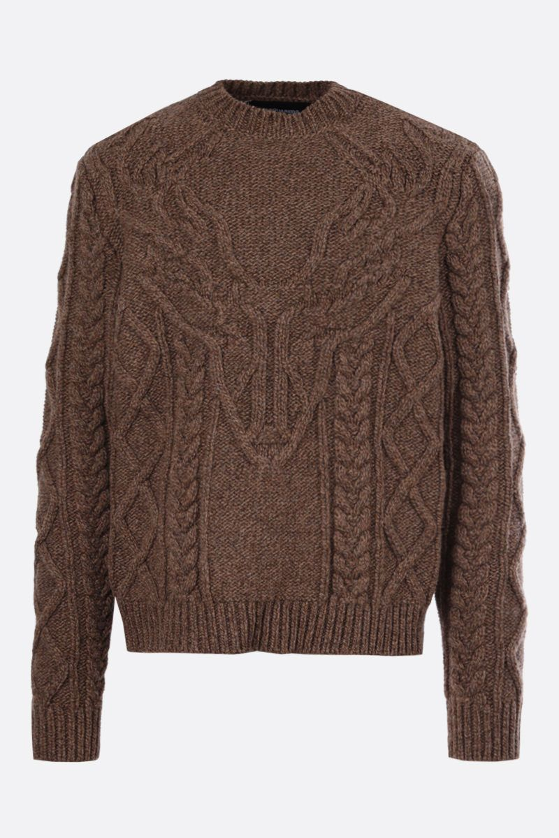 DSQUARED2: wool cable knit pullover Color Brown_1